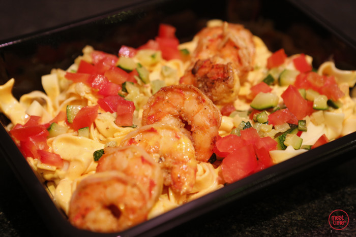 pasta met scampi in roze pepersaus - Meattime